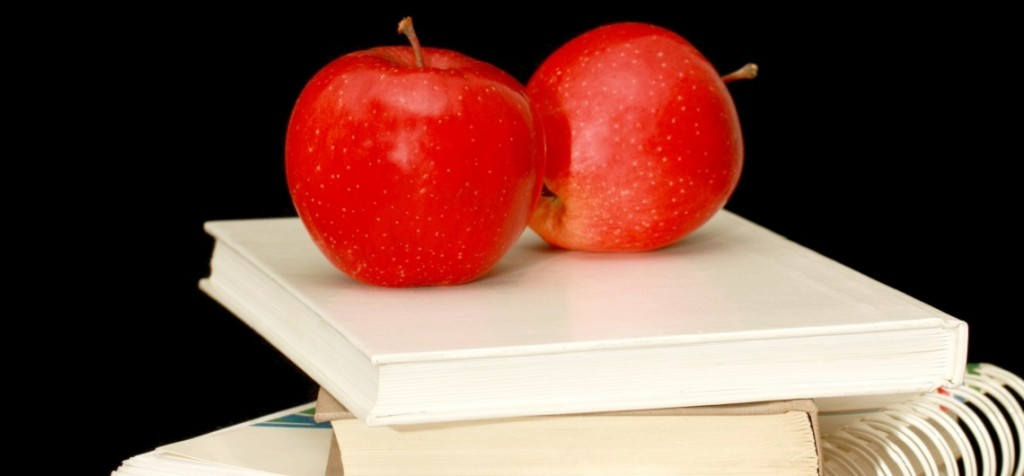 books with apples